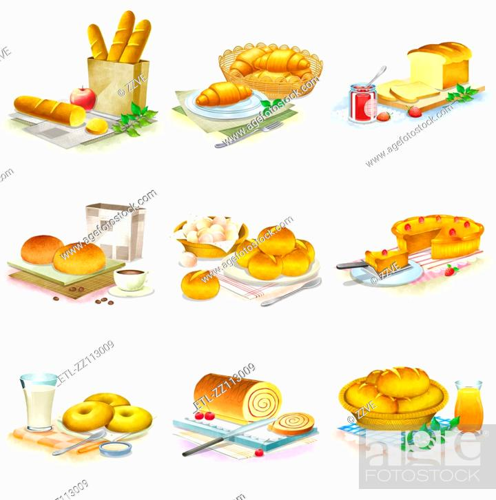 Stock Photo: Close-up of breads.