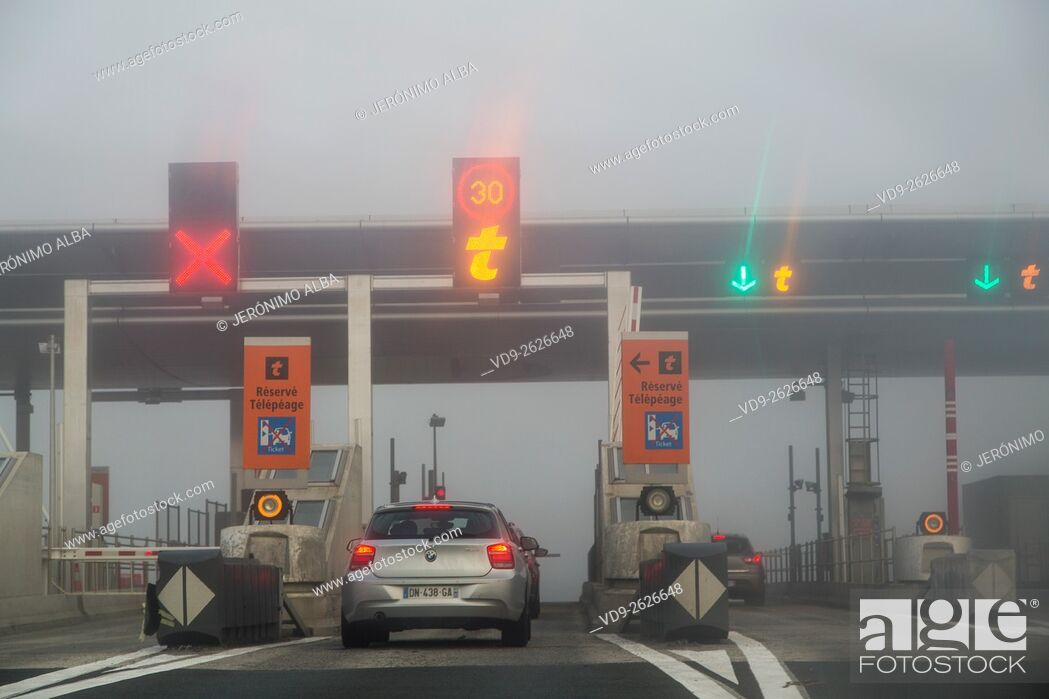 Stock Photo: Fog Highway Toll Payment Gate, Bordeaux Gironde Aquitaine France.