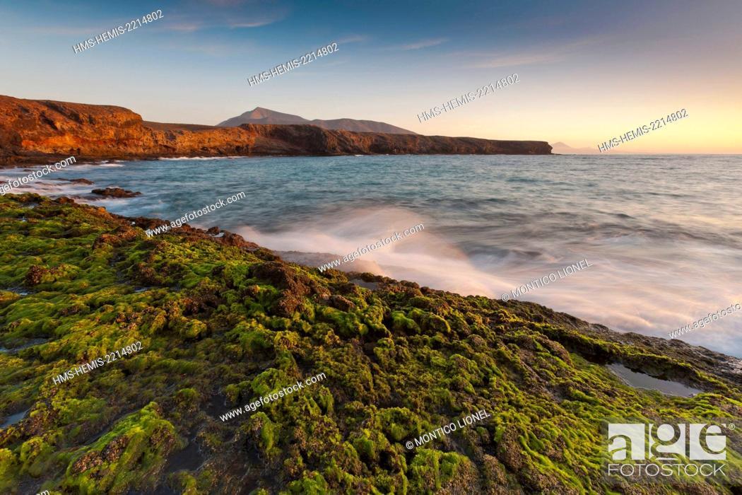 Stock Photo: Spain, Canaries Islands, Lanzarote island, Punta del Papagayo and the mount Ajache.