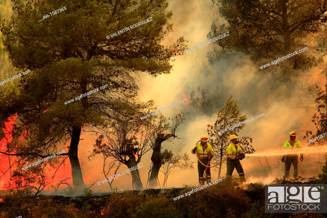 Photo de stock: Staff working forest fire in a forest fire in Castellón.