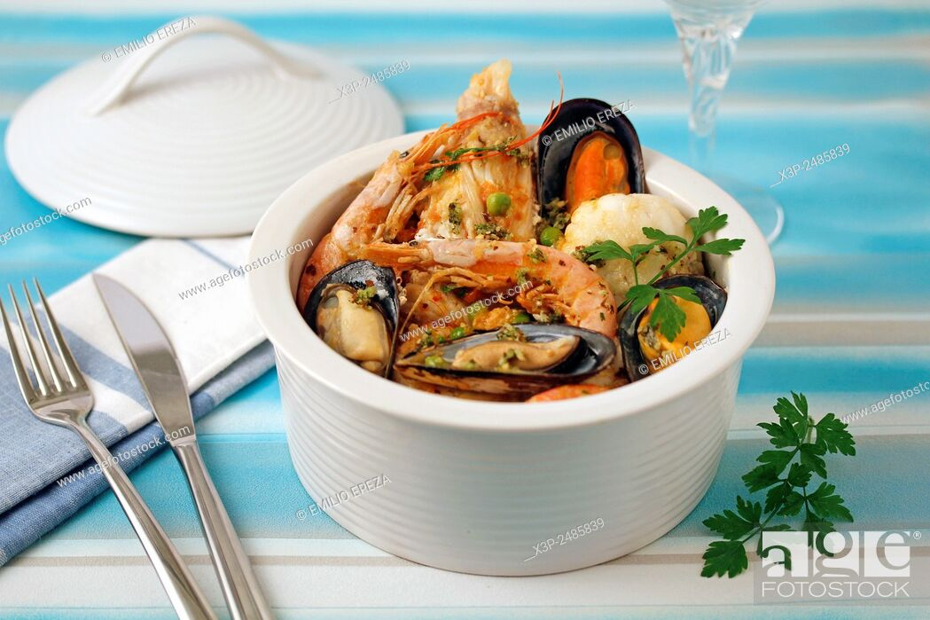 Stock Photo: Monkfish and shellfish.