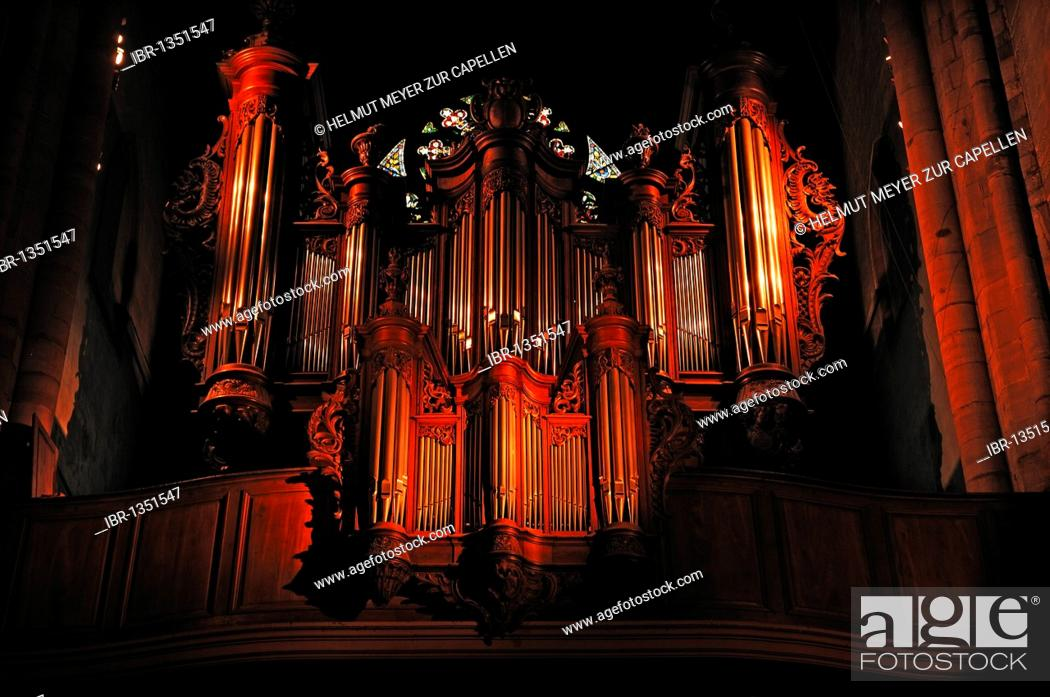 Stock Photo: Illuminated old organ in the cathedral of St. Martin, 22 Place de la Cathédrale, Colmar, Alsace, France, Europe.