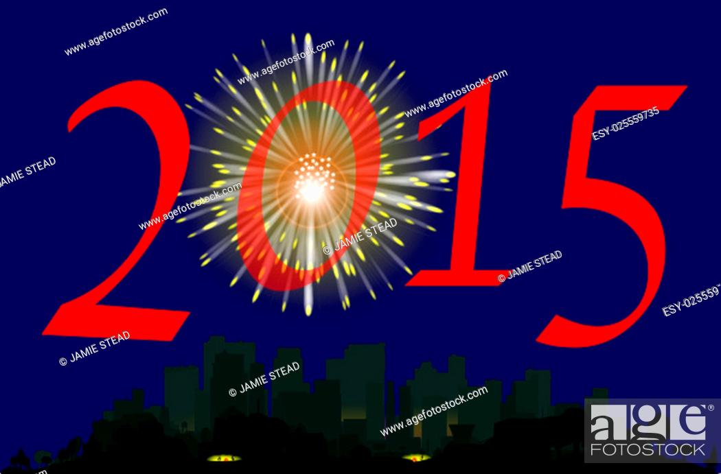 Stock Photo: A single firework burst over a city with the inscription 2015. The first rocket of the evening.