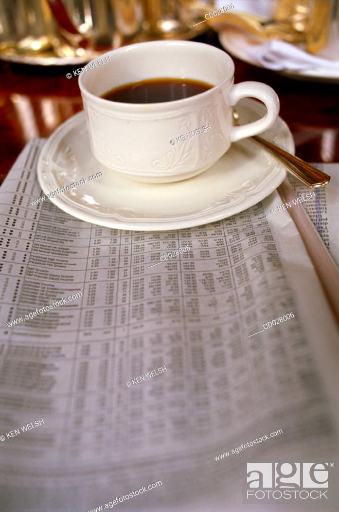 Stock Photo: Coffee and newspaper.