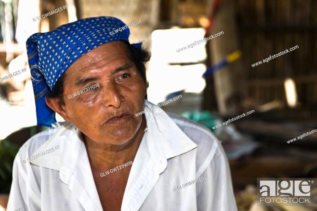 Stock Photo: Close-up of a mature man, Papantla, Veracruz, Mexico.