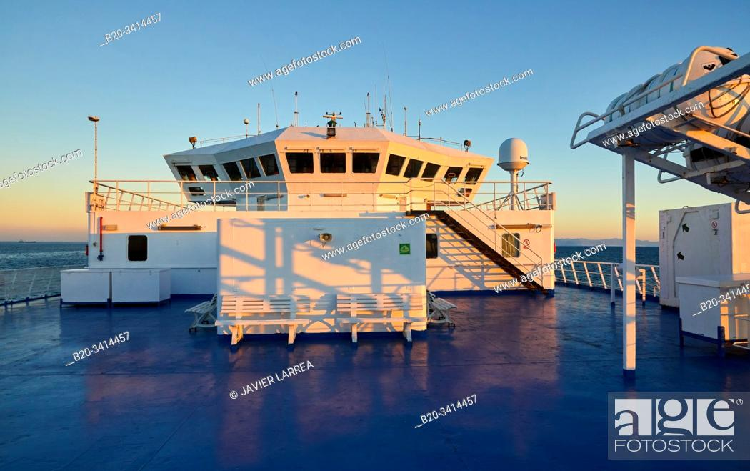 Stock Photo: Ferry crossing the Strait of Gibraltar from Morocco to Spain, Africa, Europe.