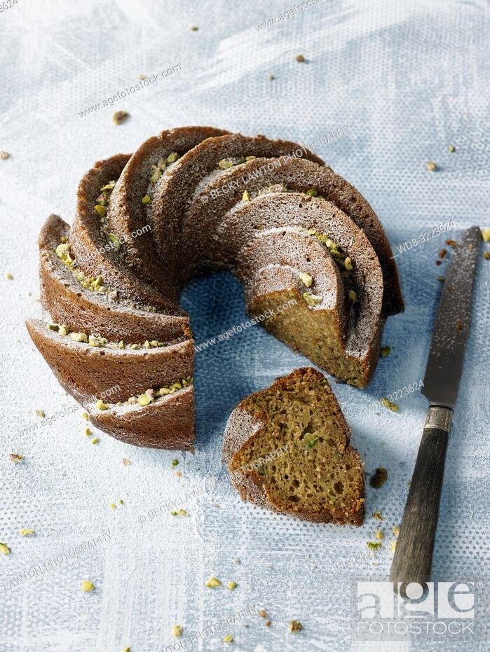 Stock Photo: bizcocho de calabacin / zucchini sponge cake.