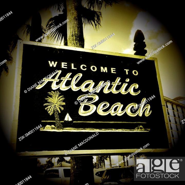 Stock Photo: Welcome sign to Atlantic Beach, Florida, USA.