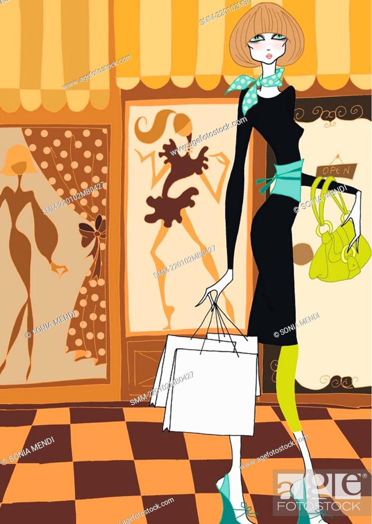 Stock Photo: Young woman with shopping bags.