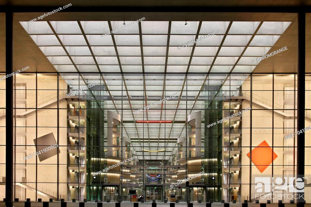 Imagen: Glass facade of the library of the Bundestag at night, Berlin, Germany, Europe.