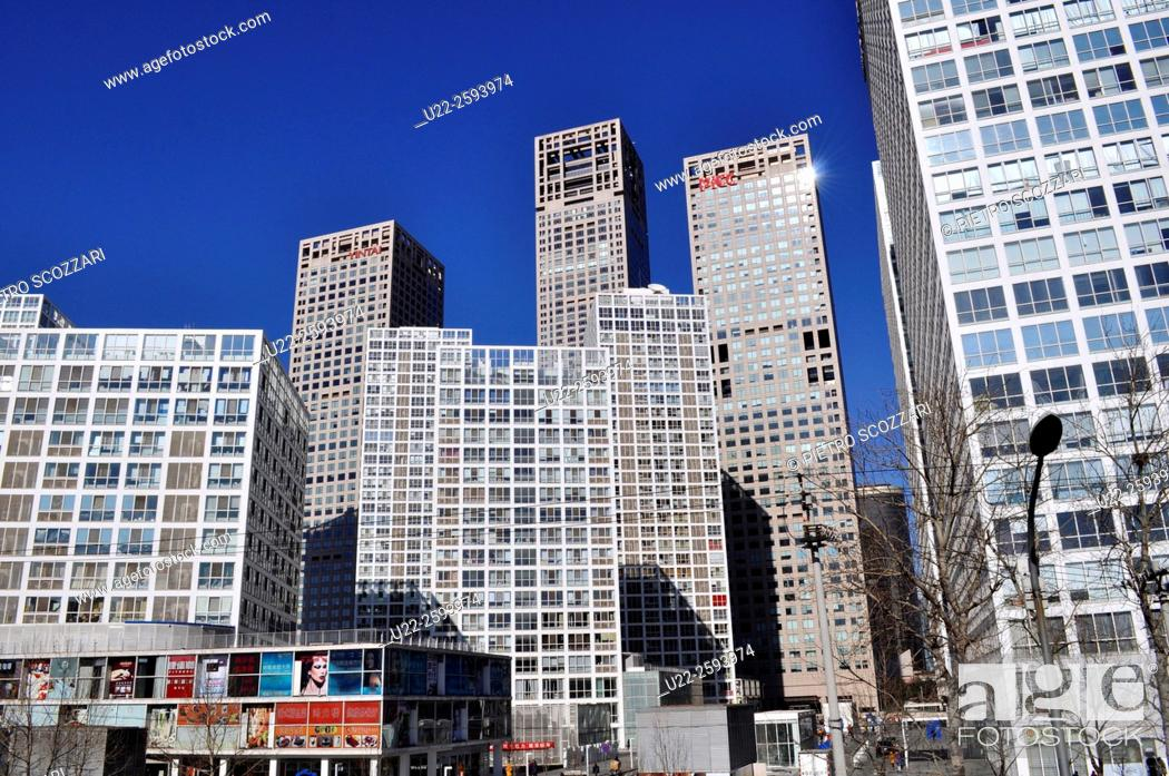 Stock Photo: Asia, China, Beijing, modern apartment buildings in Chaoyang.