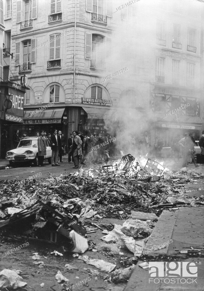 Stock Photo: Aftermath of rioting, Latin Quarter, Paris, May 1968. Widespread protests and riots by students opposed to the policies of the government of President De Gaulle.