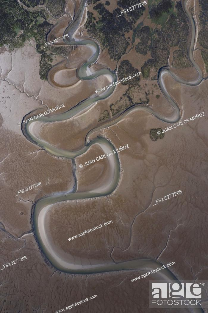Stock Photo: Aerial view, Marismas de Santoña, Noja y Joyel Natural Park, Cantabrian Sea, Cantabria, Spain, Europe.