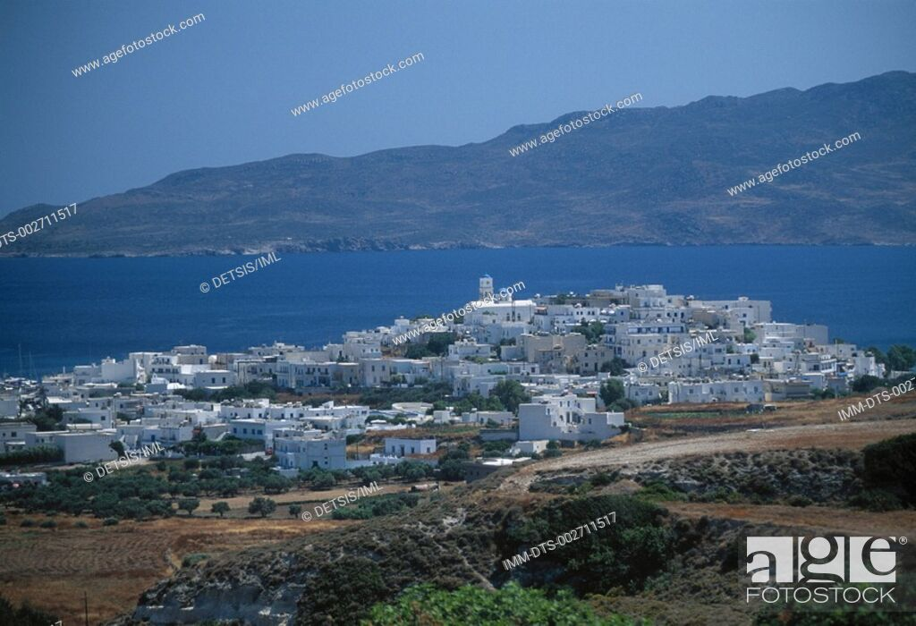 Stock Photo: Adamas town viewed from Kaminia , Milos island  Cyclades  Greece.