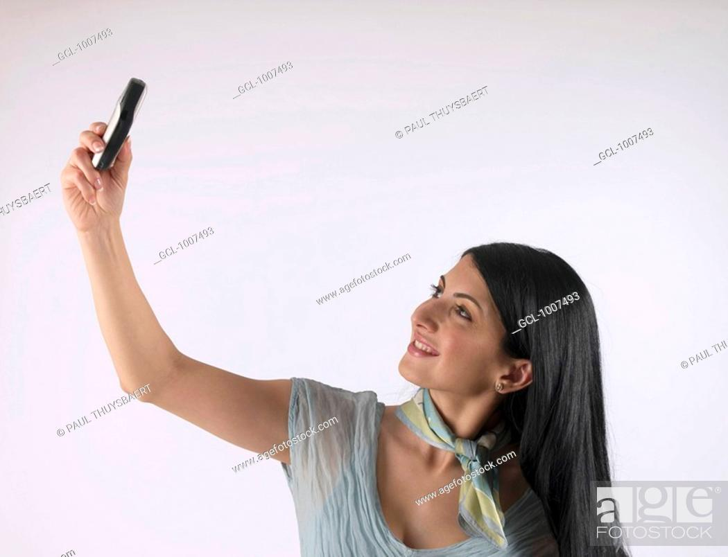 Stock Photo: Woman with mobile phone.