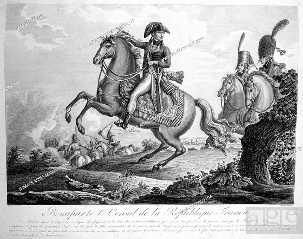 Stock Photo: Napoleon Bonparte 1769-1821 as First Consul. Engraving.