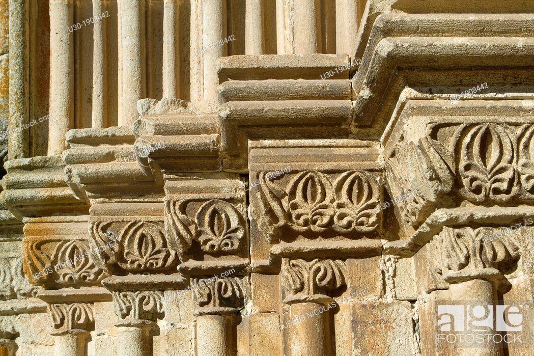 Stock Photo: Detail of Santa María la Mayor church 13th-16th century  Trujillo  Cáceres  Extremadura  Spain.