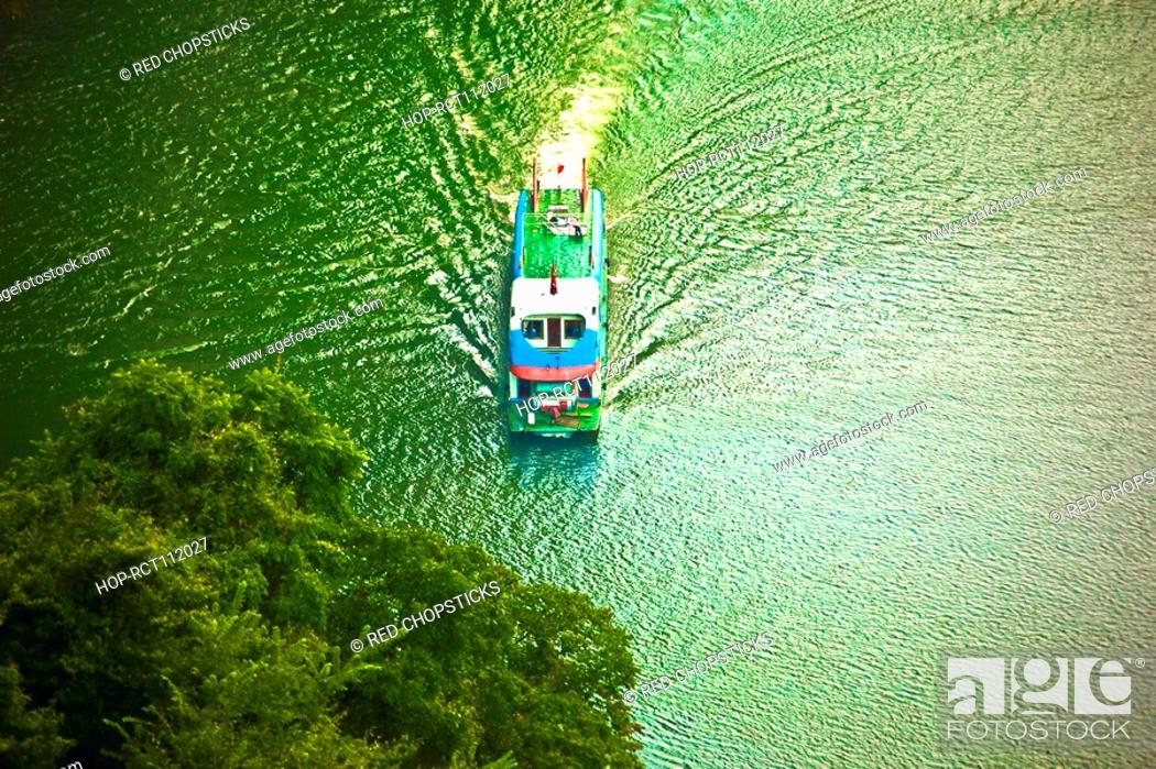Stock Photo: Aerial view of a boat in a river, Li River, XingPing, Yangshuo, Guangxi Province, China.