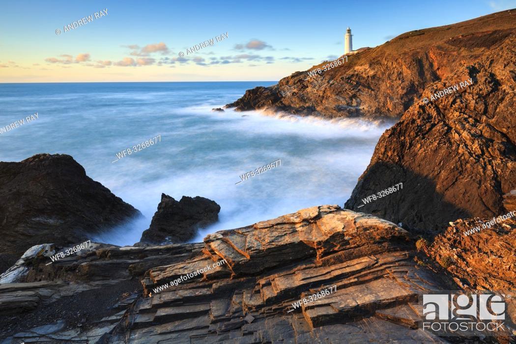 Stock Photo: Towards the Lighthouse (Trevose).