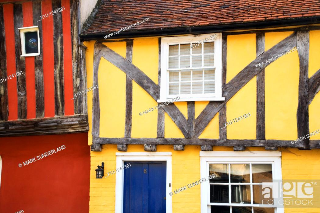 Stock Photo: Colourful Half Timbered Buildings Nayland Suffolk England.