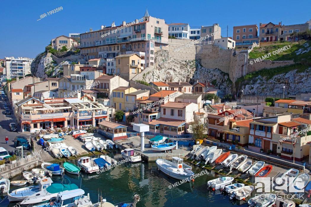 Stock Photo: Picturesque little fishing port of Vallon des Auffes, Marseille, Bouches-du-Rhone, Provence-Alpes-Cote d'Azur, Southern France, France, Europe.