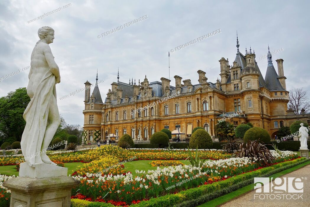 Stock Photo: Gardens. Waddesdon Manor. Buckinghamshire. England.