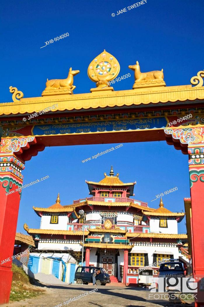 Stock Photo: India, West Bengal, Kalimpong, Durpin Hill, Durpin Gompa or Zong Dog Pairi Fo-Brang Gompa, Kalimpong's largest monastery.