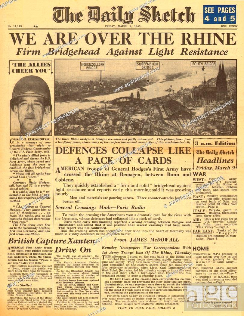 1945 Daily Sketch front page reporting Allied forces reach the River