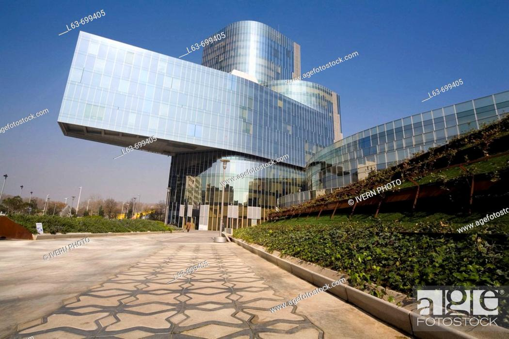 Stock Photo: Torre Mare Nostrum, head office of Gas Natural (Spanish gas company), by Enric Miralles and Benedetta Tagliabue, Barcelona. Catalonia, Spain.
