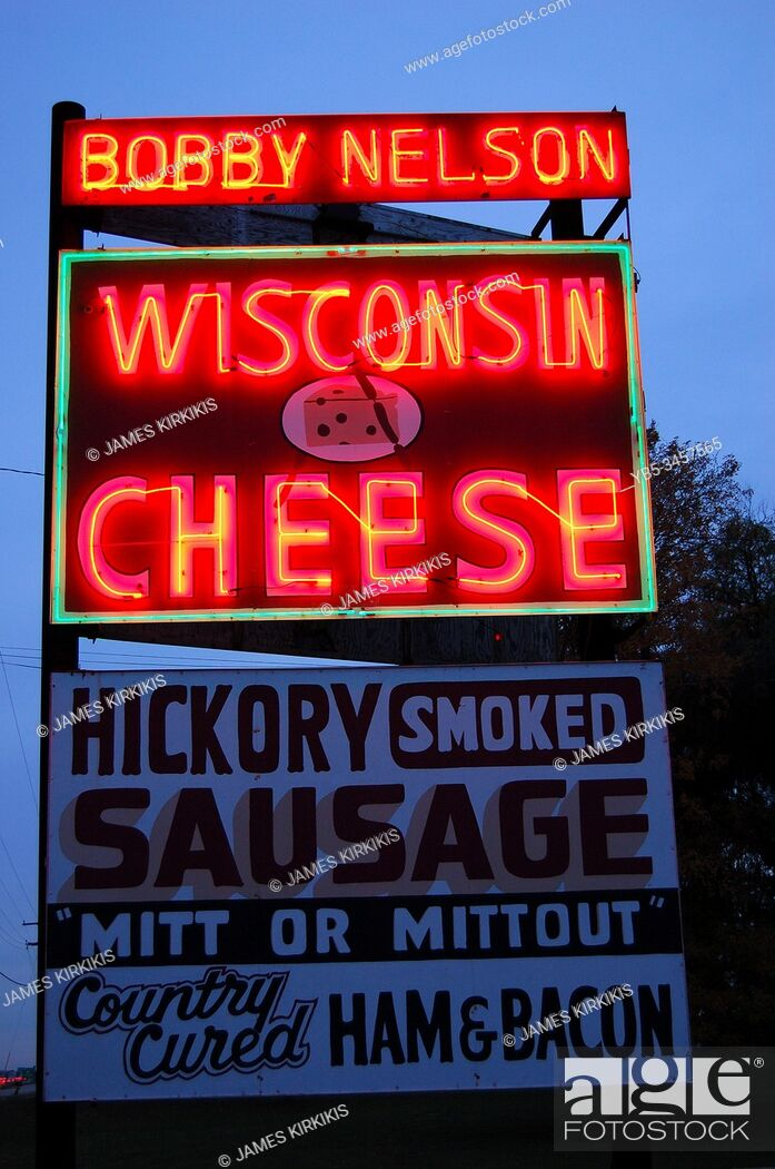 Stock Photo: A rest area sells delicacies from cheese to meats in Wisconsin.