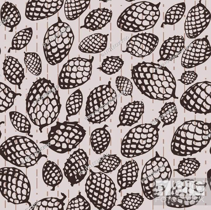 Stock Photo: seamless texture pattern with fir cones. Used as a backdrop, seamless texture. beige background.