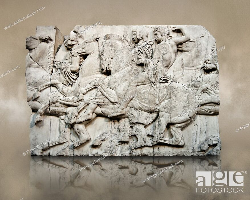 Imagen: Marble Releif Sculptures from the north frieze around the Parthenon Block XLIII 118-120. From the Parthenon of the Acropolis Athens.
