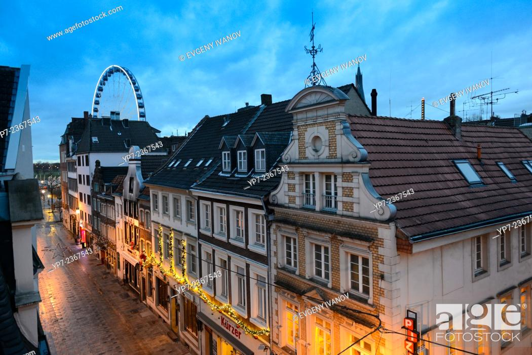 Stock Photo: Dusseldorf Old Town Street In The Evening, Germany.