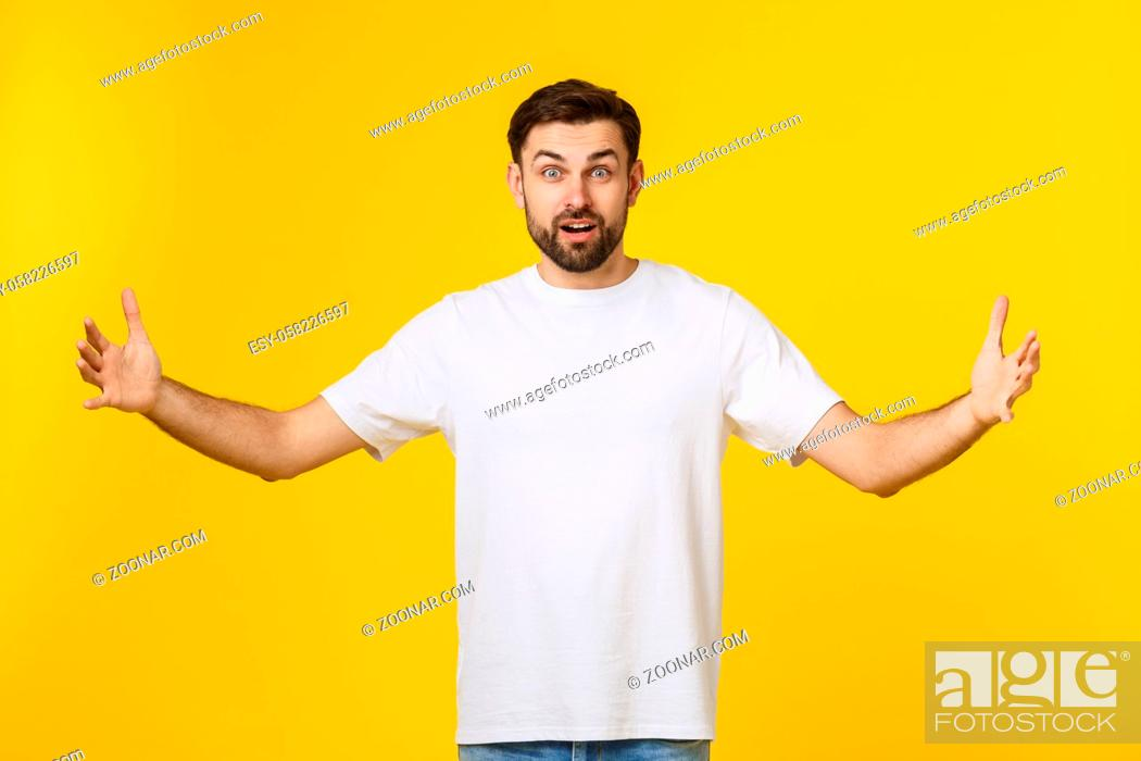 Stock Photo: Young handsome cool man feels confident giving a hug to the camera.