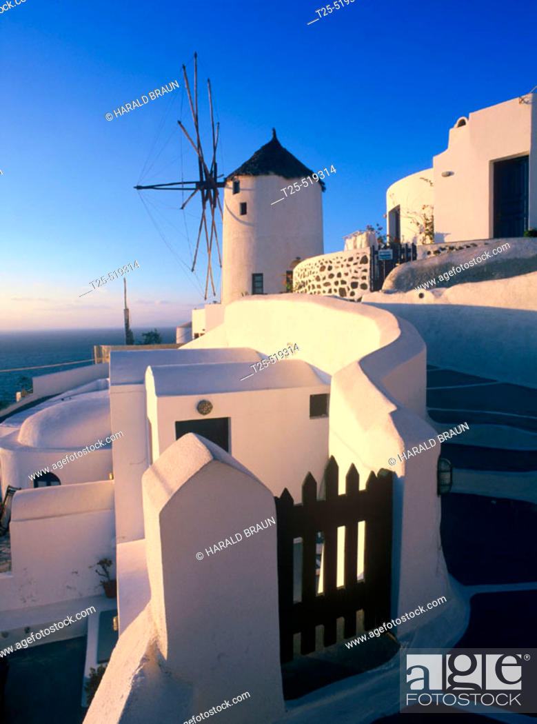 Stock Photo: Windmill in Oia, Santorini, Cyclades, Greece.