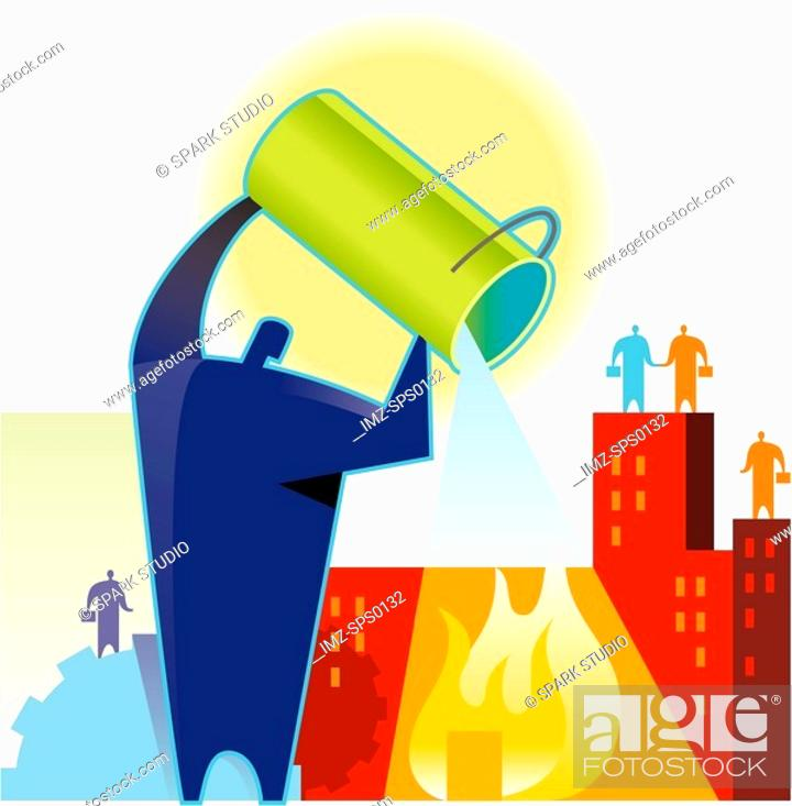 Stock Photo: A man putting out a fire.