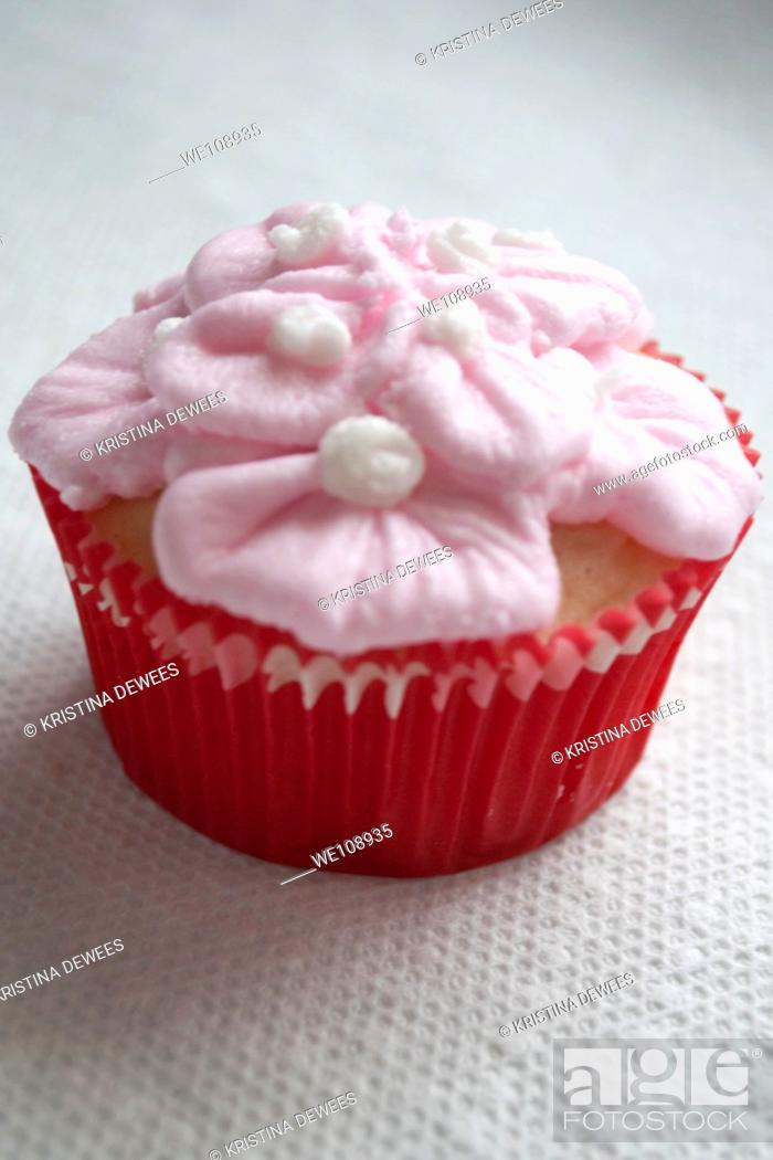 Stock Photo: A fancy Valentine's Day cupcake.