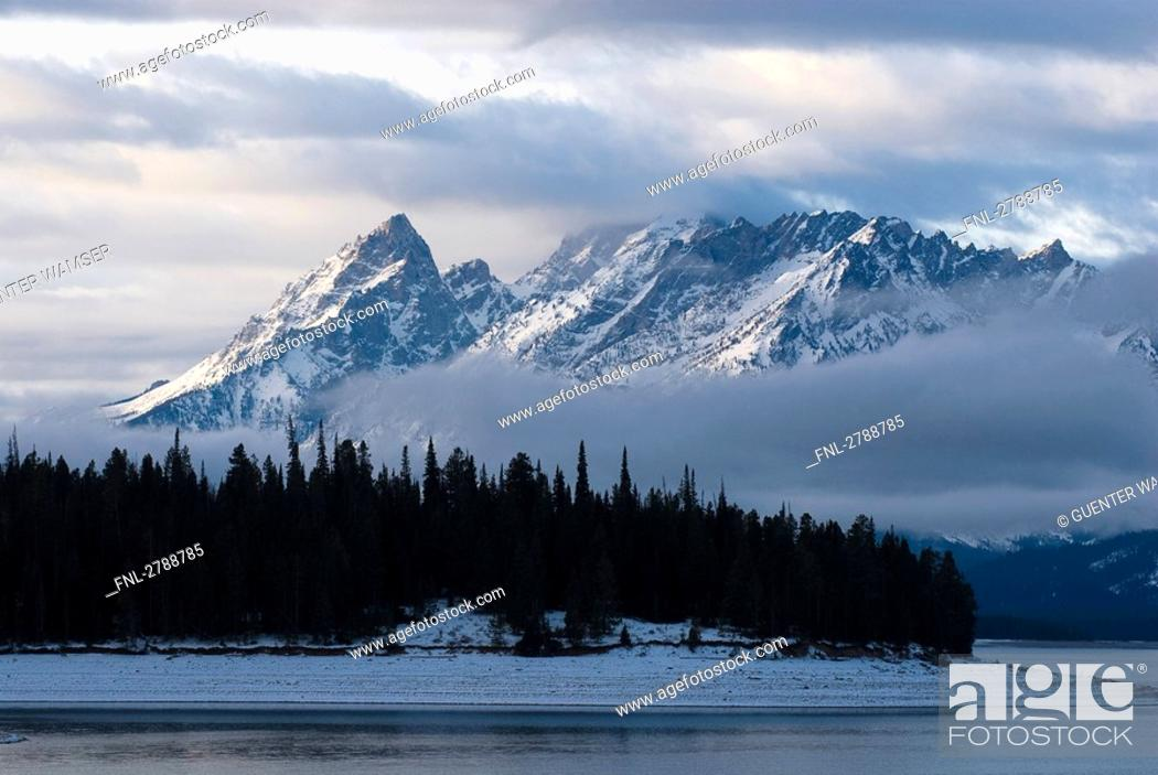 Stock Photo: Lake with mountain in background, Grand Teton National Park, Wyoming, USA.