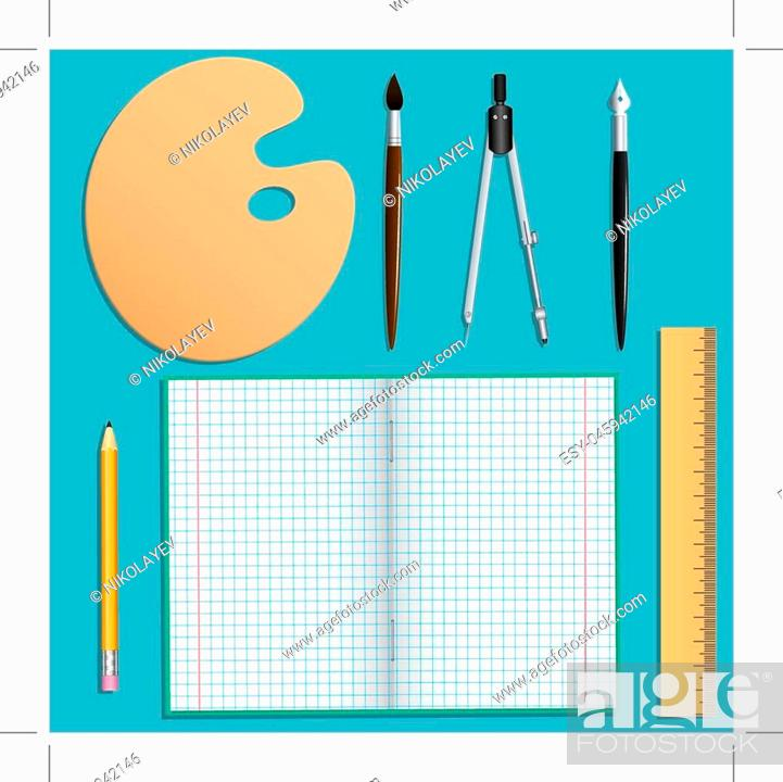 Stock Vector: Set of stationery for school and creative work. Isolated objects. Turquoise background. Vector illustration.