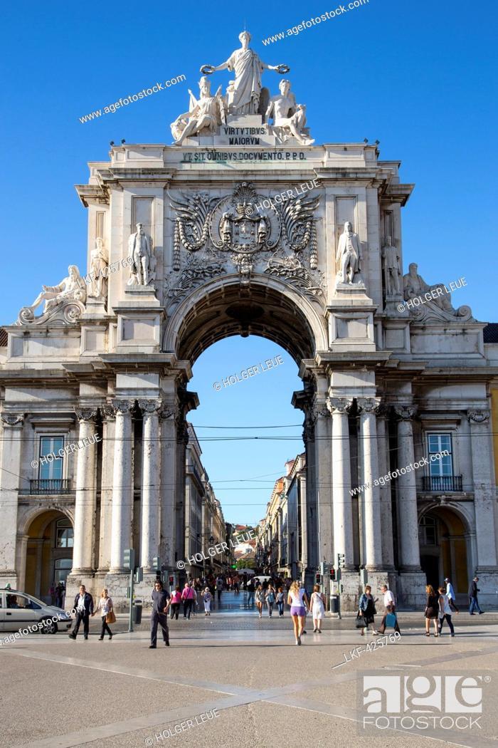 Stock Photo: Arco da Victoria victory arch at Praca do Comercio square in Baixa district, Lisbon, Lisboa, Portugal.