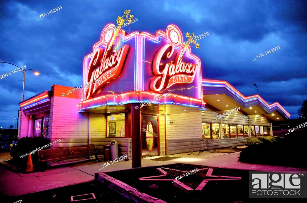 Stock Photo: Galaxy Diner, Original site of Bub's 1950s Diner, Historic Route 66, Flagstaff, Arizona, United States.