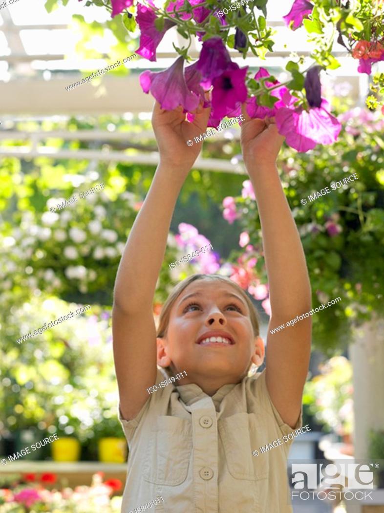 Stock Photo: Girl reaching for hanging basket.