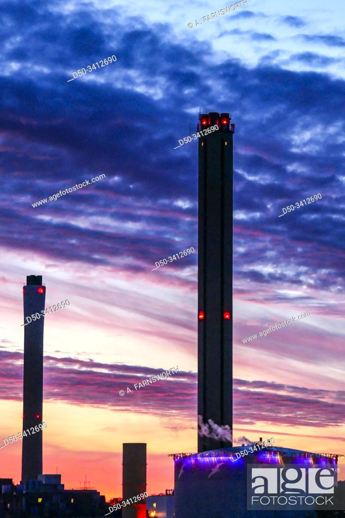 Stock Photo: Stockholm, Sweden Smokestacks from a power plant in Frihamnen.