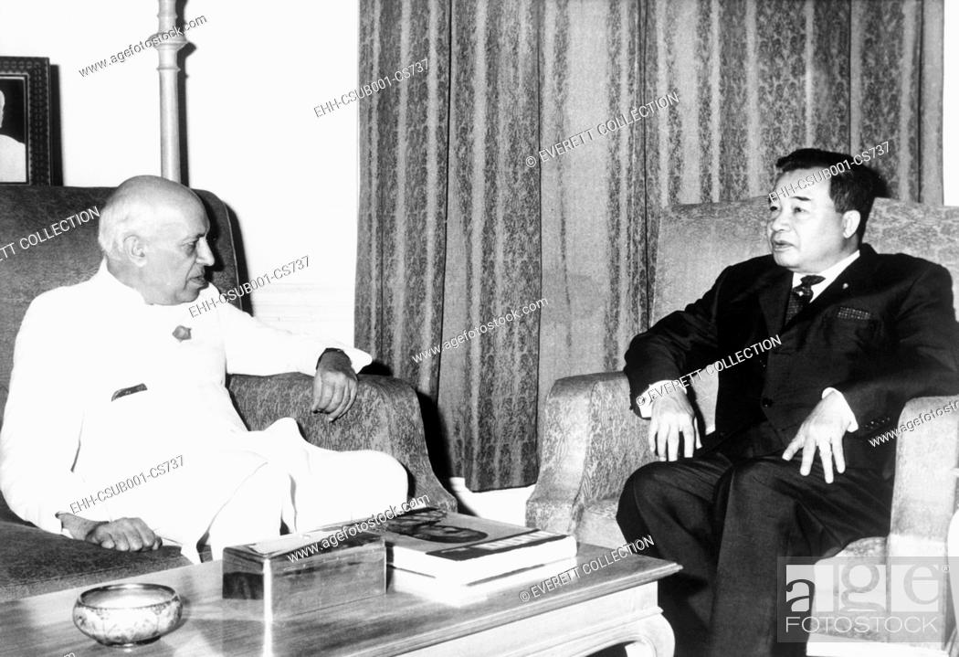Stock Photo: Prince Souvanna Phouma (right), Prime Minister of Laos, met with Indian Premier Jawaharlal Nehru. November 5, 1963. The Neutralist Souvanna Phouma was Prime.