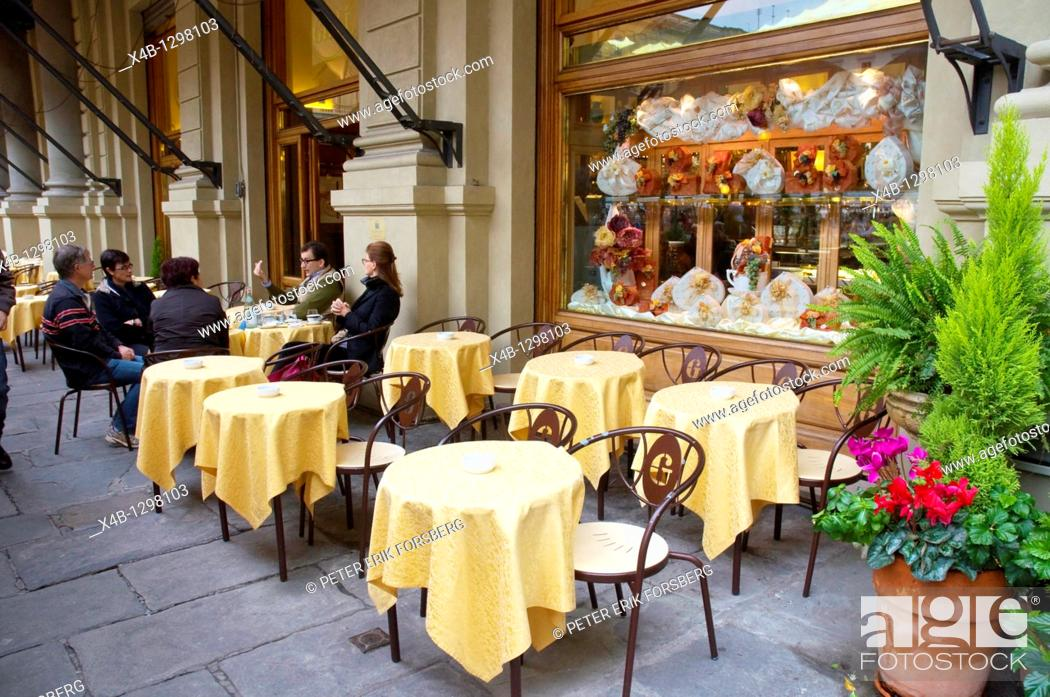 Stock Photo: Cafe Gilli at Piazza della Repubblica square central Florence Firenze Tuscany central Italy Europe.