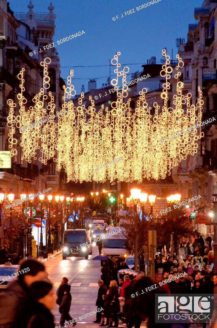 Stock Photo: Puerta del Sol in Christmas, Madrid, Spain.