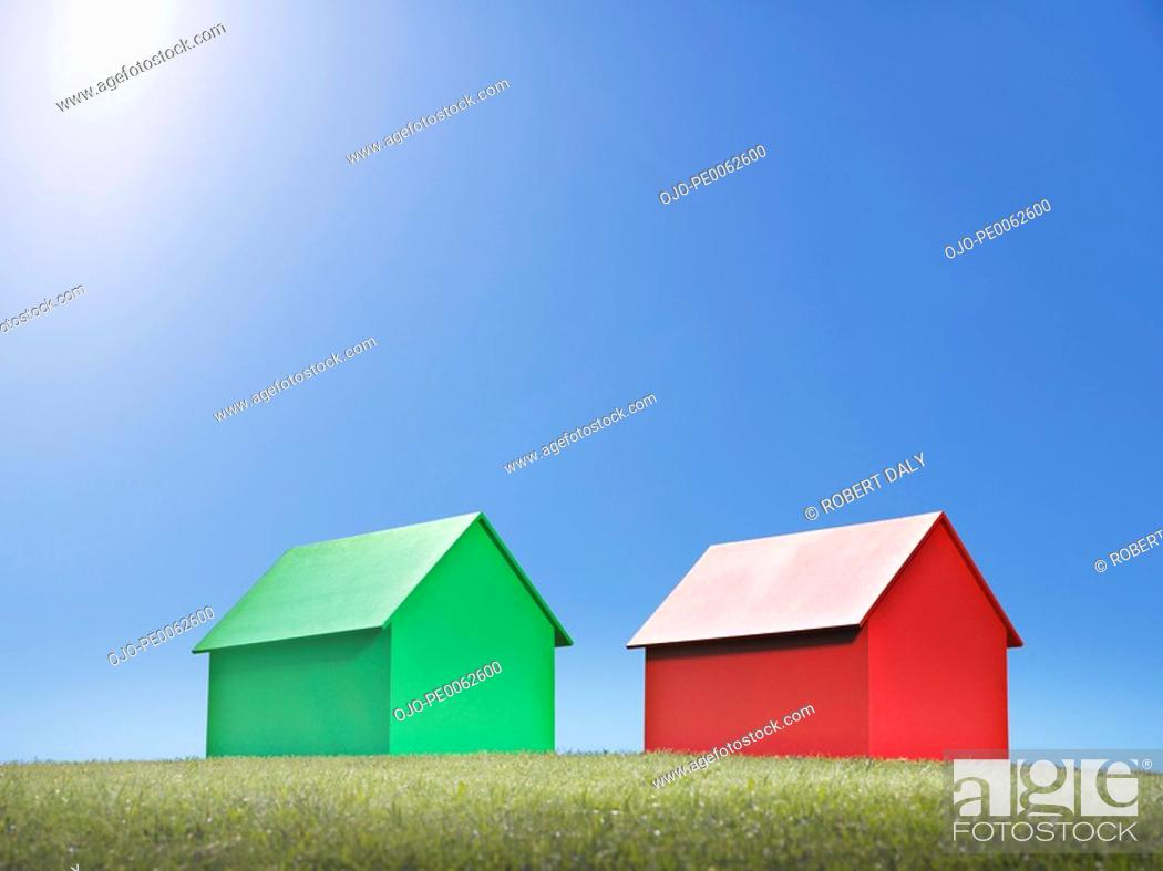 Stock Photo: Two small model houses.