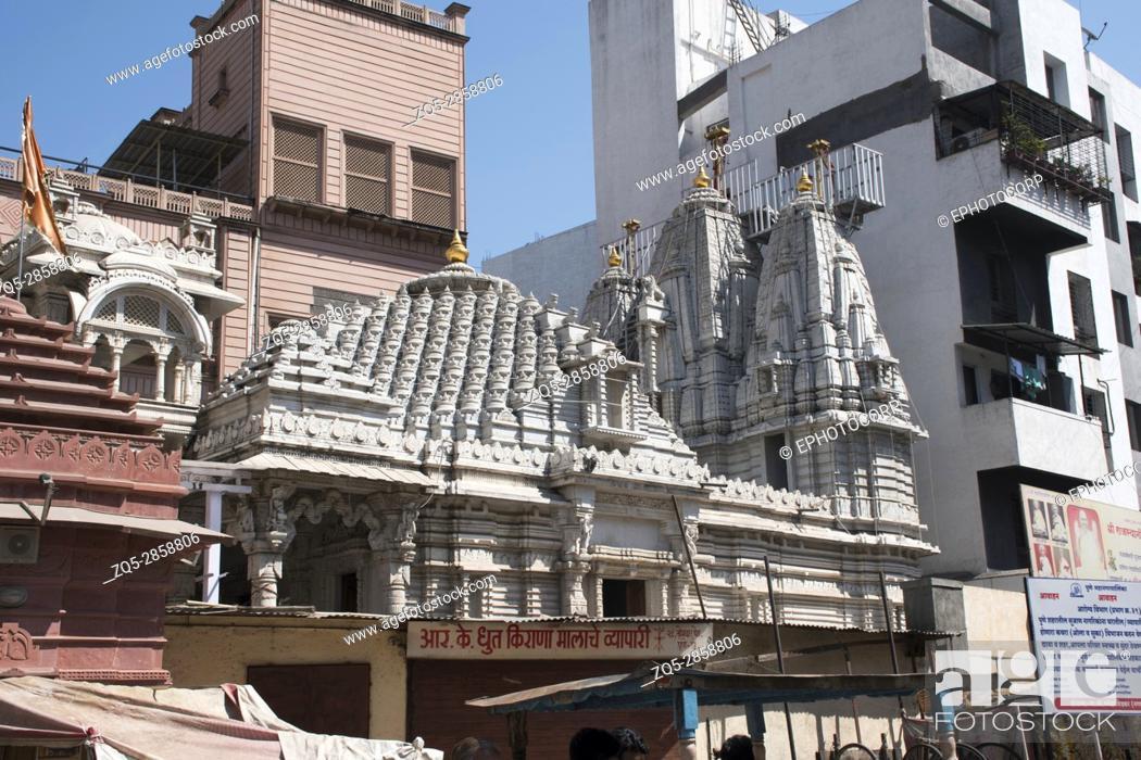 Stock Photo: Facade, Somwar Peth Jain Temple, Pune, Maharashtra.