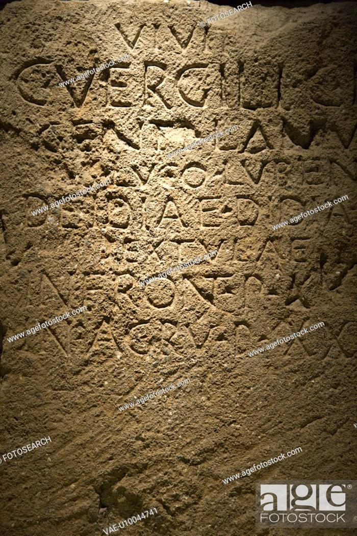 Stock Photo: Script carved in stone in Capitoline Museum, Rome, Italy.