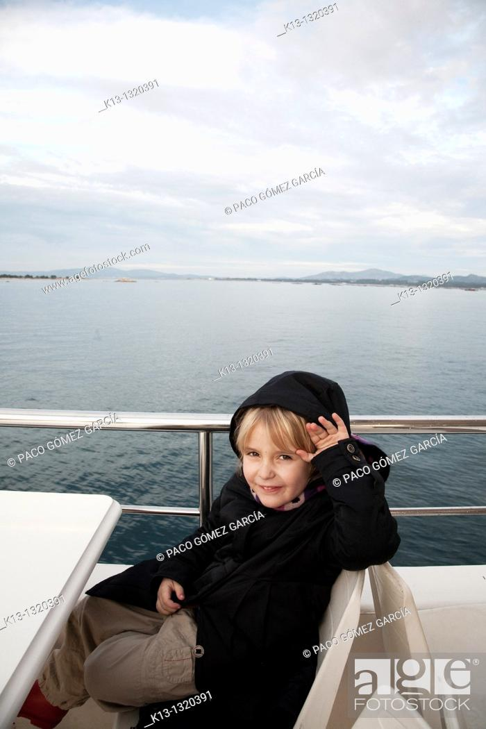 Stock Photo: Girl traveling by boat.